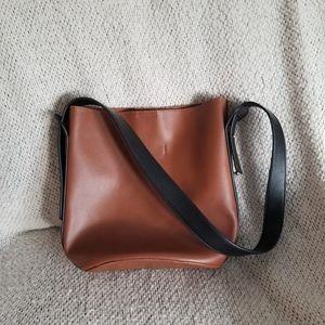 By Anthropologie Brown Bucket Bag Top Handle